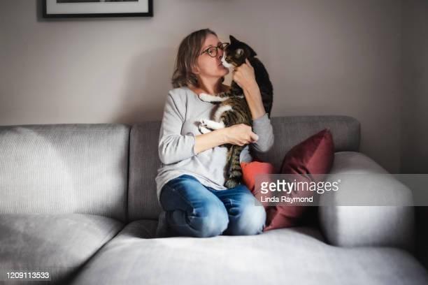 een rijpe vrouw met haar kat - gedomesticeerde dieren stockfoto's en -beelden