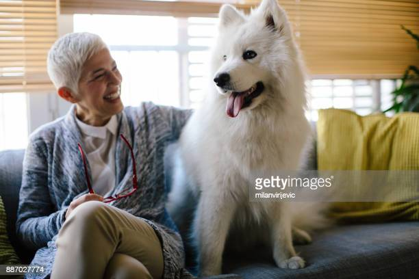 mature woman with her dog - monogamous animal behavior stock photos and pictures