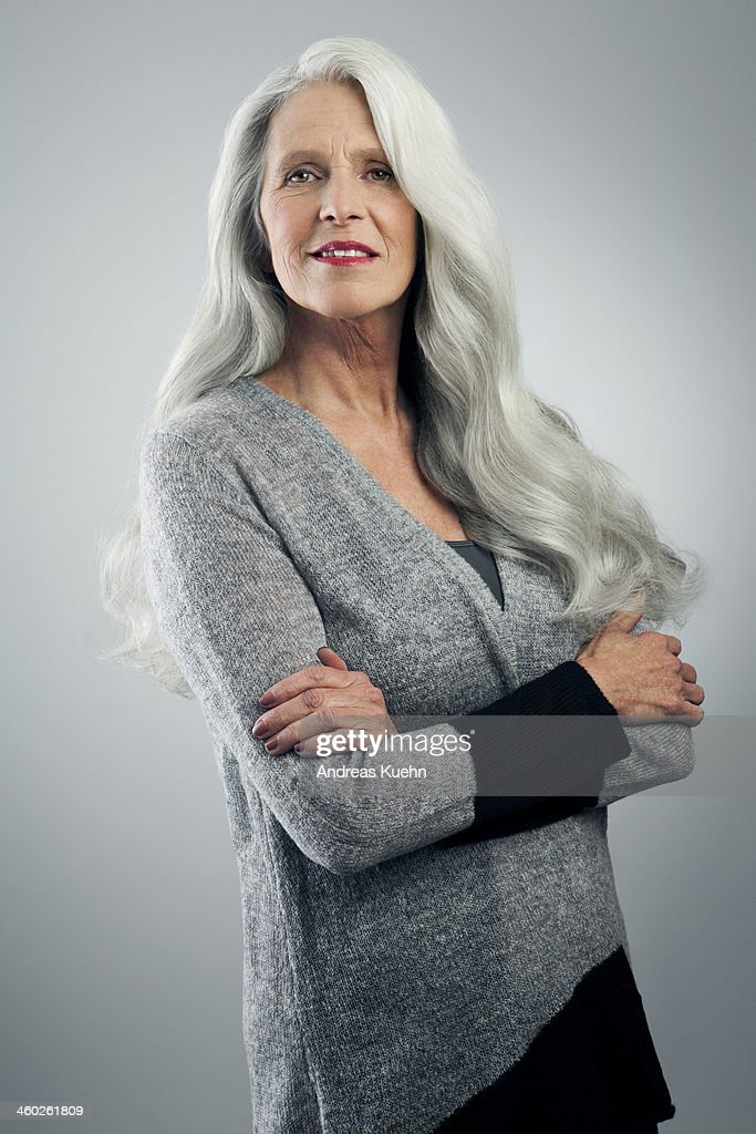 Mature Woman With Long Gray Hair Standing Stock Photo  Getty Images-7449