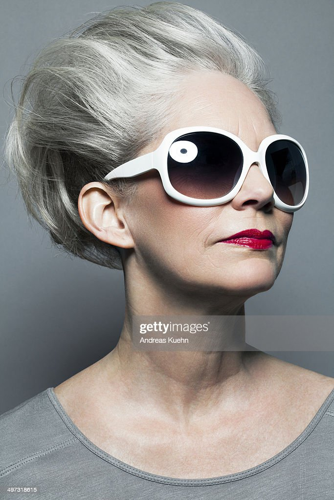 Mature Woman With Red Lipstick And Sunglasses Stock Photo ...