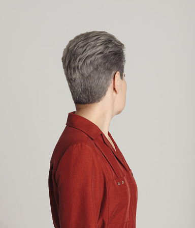 Mature woman with short gray hair - gettyimageskorea