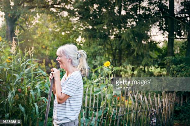 mature woman working in her vegetable garden - tuinieren stockfoto's en -beelden