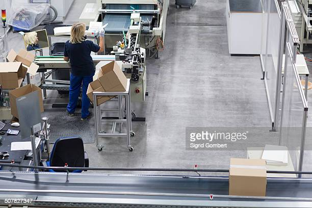 mature woman working in paper packaging factory - sigrid gombert stock pictures, royalty-free photos & images