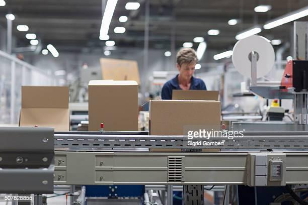 mature woman working in paper packaging factory - sigrid gombert - fotografias e filmes do acervo