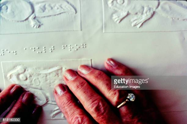 Mature Woman's hands on Braille Reading