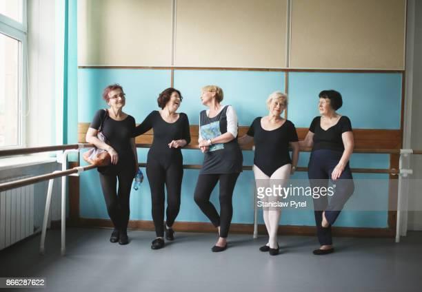 Mature women after ballet lessons