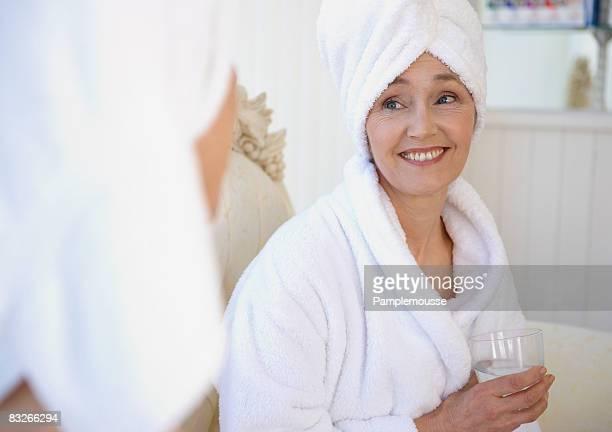Mature women awaiting spa treatment