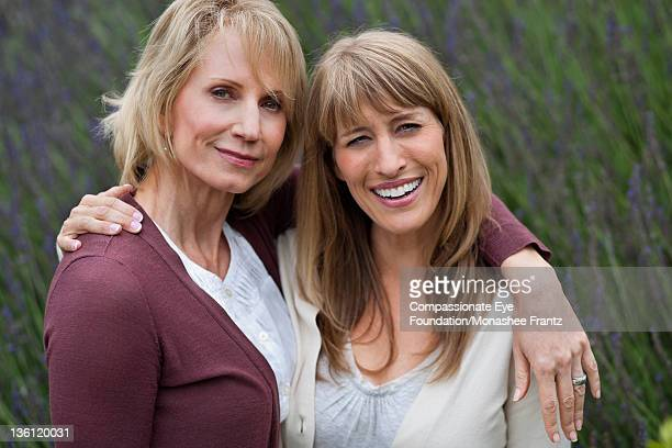 Mature women in garden, smiling