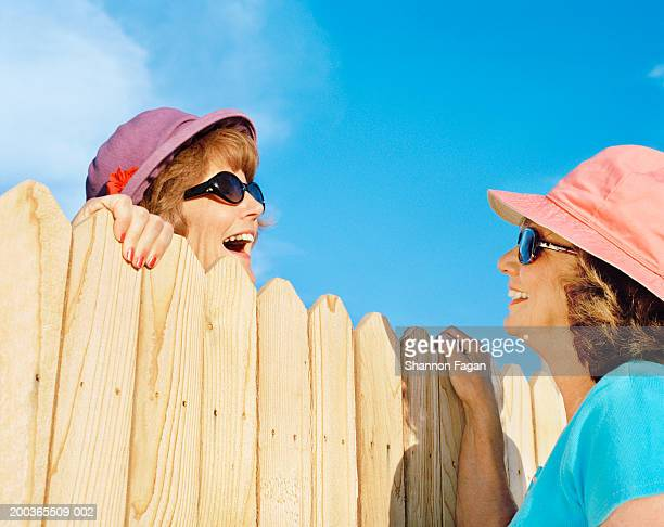 Mature women talking over fence