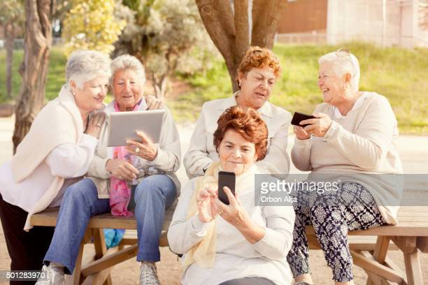 Mature women using devices