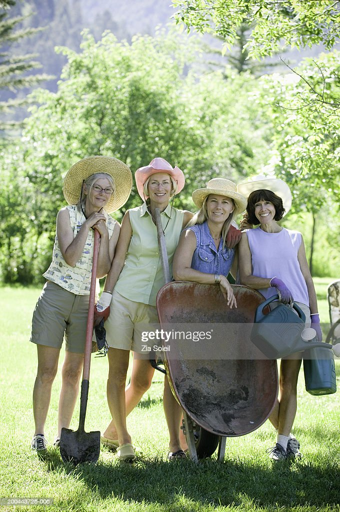 Mature Women With Gardening Gear, Portrait : Stock Photo