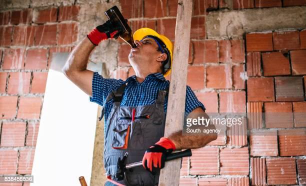 Mature worker on break
