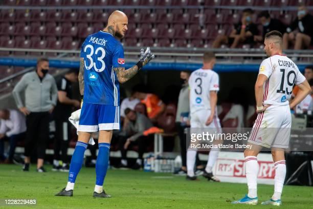 Matus Macik and Matej Curma of MFK Ruzomberok look dejected after the UEFA Europa League qualification match between Servette FC and MFK Ruzomberok...