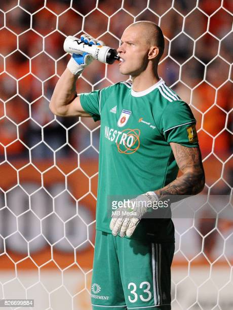 Matus Macik reacts during the UEFA Europa League Qualifier between MFK Ruzomberok and Everton on August 3 2017 in Ruzomberok Slovakia