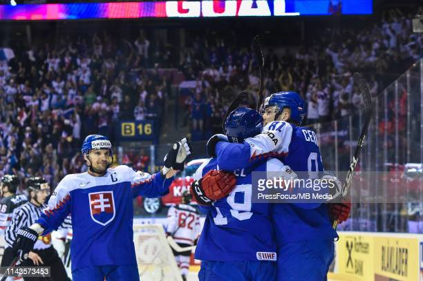 Matus Sukel of Slovakia celebrates scoring a goal during the 2019 IIHF Ice Hockey World Championship Slovakia group A game between Slovakia and...