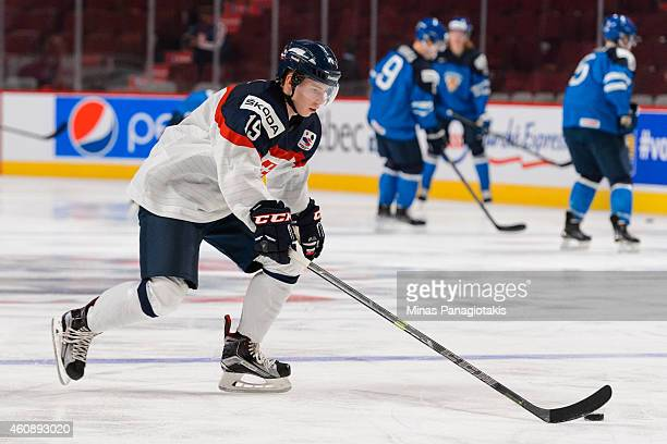 Matus Sukel of Team Slovakia skates during the warmup period prior to the 2015 IIHF World Junior Hockey Championship game against Team Finland at the...