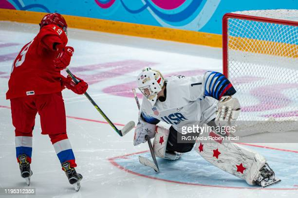 Matvei Michkov of Russian Federation tries to score against Goalkeeper Dylan Silverstein of United States during Men's 6Team Tournament Bronze Medal...