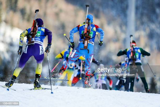 Matvey Eliseev of Russia in action during the IBU Biathlon World Cup Men's Relay on January 18, 2019 in Ruhpolding, Germany.