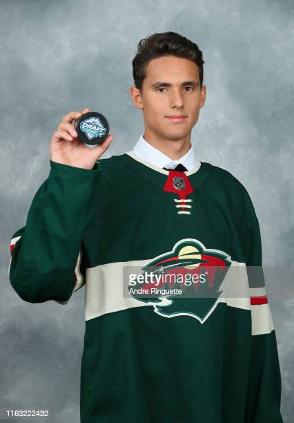 Matvey Guskov 149th overall pick of the Minnesota Wild poses for a portrait during Rounds 27 of the 2019 NHL Draft at Rogers Arena on June 22 2019 in...