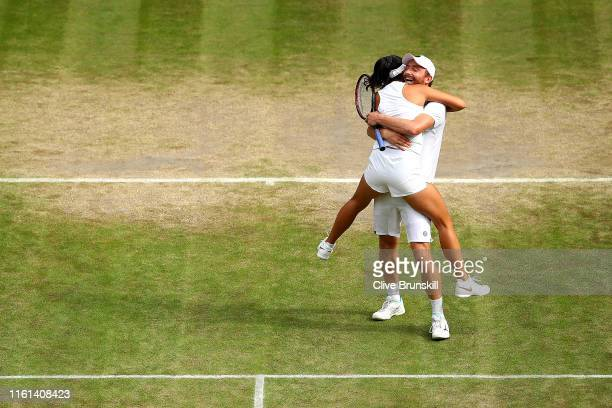 Matwe Middelkoop of the Netherlands and Zhaoxuan Yang of China celebrate match point in their Mixed Doubles quarterfinal match against Nicole...