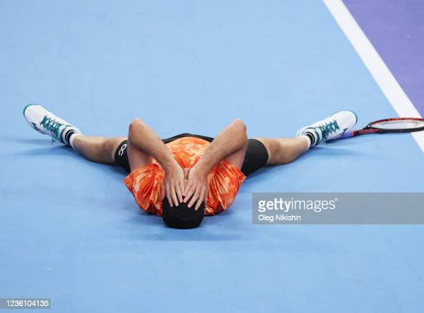 Matwe Middelkoop of the Netherlands celebrates after winning with his partner Harri Heliovaara of Finland the men's doubles final match against...