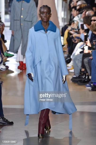 Maty Diba walks the runway during the Lanvin Menswear Fall/Winter 2020-2021 show as part of Paris Fashion Week on January 19, 2020 in Paris, France.