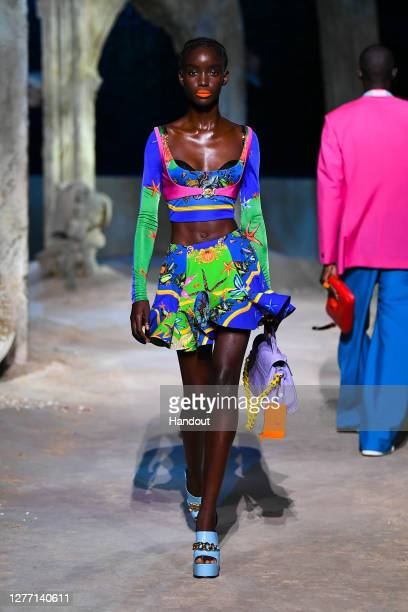 Maty Fall Diba walks the runway at the Versace fashion show during the Milan Women's Fashion Week on September 25, 2020 in Milan, Italy.