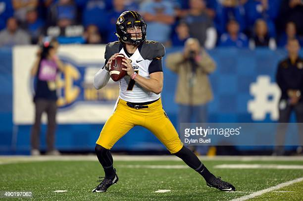 Maty Mauk of the Missouri Tigers drops back to pass against the Kentucky Wildcats at Commonwealth Stadium on September 26 2015 in Lexington Kentucky
