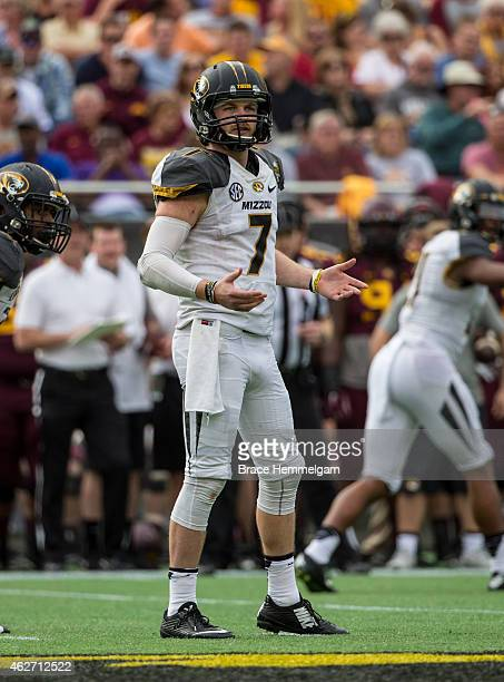 Maty Mauk of the Missouri Tigers looks on in the Buffalo Wild Wings Citrus Bowl between the Minnesota Golden Gophers and the Missouri Tigers at the...