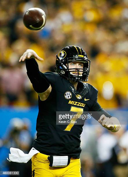 Maty Mauk of the Missouri Tigers passes against the Alabama Crimson Tide in the first quarter of the SEC Championship game at the Georgia Dome on...