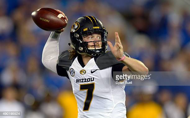 Maty Mauk of the Missouri Tigers passes against the Kentucky Wildcats at Commonwealth Stadium on September 26 2015 in Lexington Kentucky