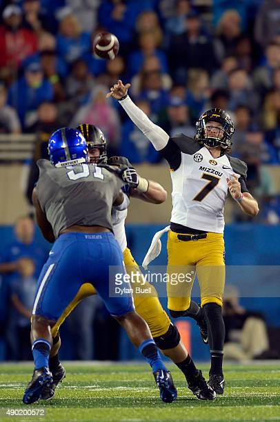 Maty Mauk of the Missouri Tigers passes during the second half against the Kentucky Wildcats at Commonwealth Stadium on September 26 2015 in...