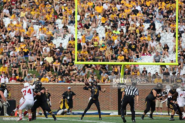Maty Mauk of the Missouri Tigers throws against the Indiana Hoosiers at Memorial Stadium on September 20 2014 in Columbia Missouri