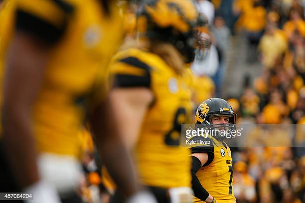 Maty Mauk of the Missouri Tigers waits for the referees before running a play against the Georgia Bulldogs midway in the third quarter on October 11...