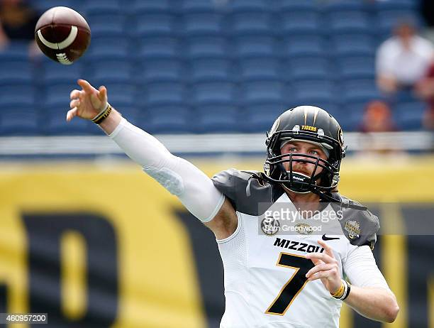 Maty Mauk of the Missouri Tigers warms up before the Buffalo Wild Wings Citrus Bowl against the Minnesota Golden Gophers at the Florida Citrus Bowl...