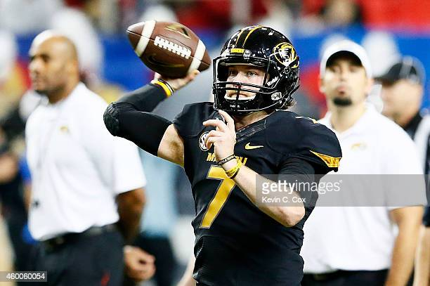 Maty Mauk of the Missouri Tigers warms up prior to their SEC Championship game against the Alabama Crimson Tide at the Georgia Dome on December 6...