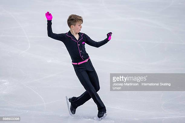 Matyas Belohradsky of Czech Republic competes during the junior men free skating on day three of the ISU Junior Grand Prix of Figure Skating on...