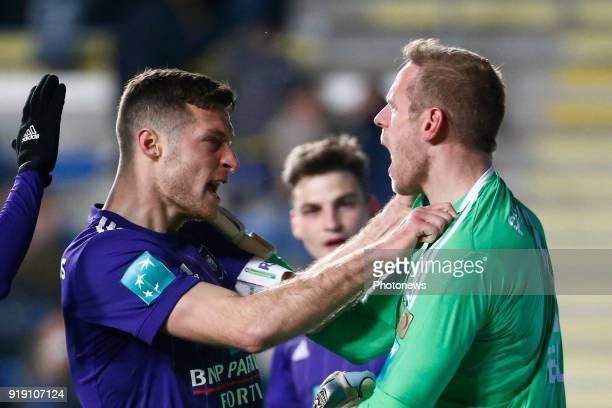 Matz Sels goalkeeper of RSC Anderlecht and Josue Sa defender of RSC Anderlecht and Uros Spajic defender of RSC Anderlecht pictured during the Jupiler...