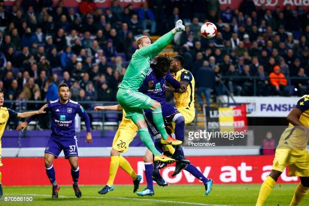 Matz Sels goalkeeper of RSC Anderlecht and Kara Serigne Modou Mbodji defender of RSC Anderlecht and Stefano Denswil defender of Club Brugge during...