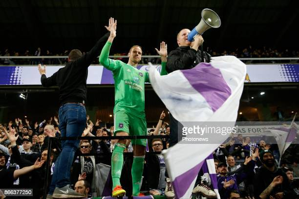 Matz Sels goalkeeper of RSC Anderlecht celebrates during the Jupiler Pro League match between RSC Anderlecht and Zulte Waregem on October 25 2017 in...