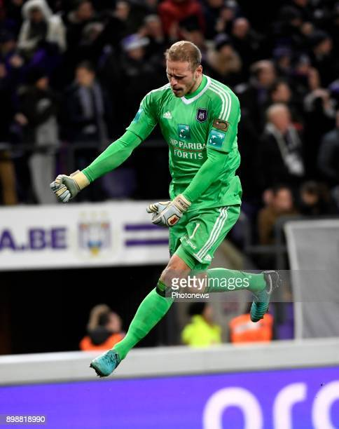 Matz Sels goalkeeper of RSC Anderlecht celebrates scoring a goal during the Jupiler Pro League match between RSC Anderlecht and KAA Gent at the...