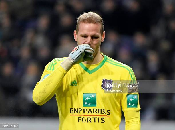 Matz Sels goalkeeper of RSC Anderlecht disappointed after loosing the game with the fans pictured during the round of 1/8 Croky Cup between Rsc...
