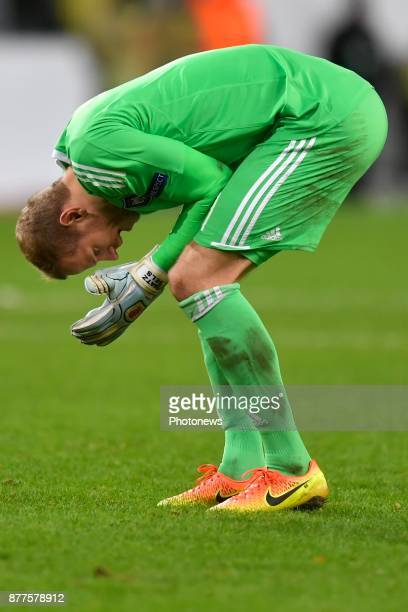 Matz Sels goalkeeper of RSC Anderlecht shows dejection during the UEFA Champions League group B match between RSC Anderlecht and FC Bayern Munchen on...