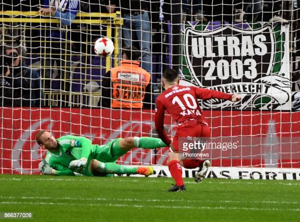 Matz Sels goalkeeper of RSC Anderlecht stops a penalty kick during the Jupiler Pro League match between RSC Anderlecht and Zulte Waregem on October...