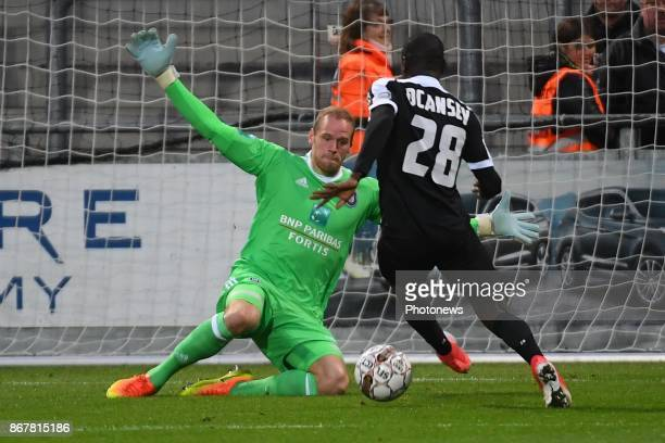 Matz Sels goalkeeper of RSC Anderlecht stops the ball of Eric Ocansey forward of Eupen during the Jupiler Pro League match between KAS Eupen and RSC...