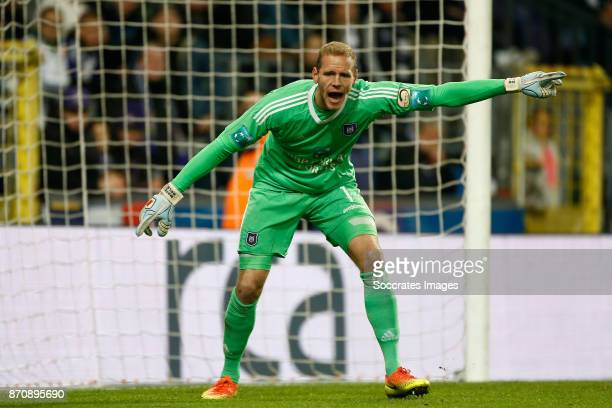 Matz Sels of RSC Anderlecht during the Belgium Pro League match between Anderlecht v Club Brugge at the Constant Vanden Stock Stadium on November 5...