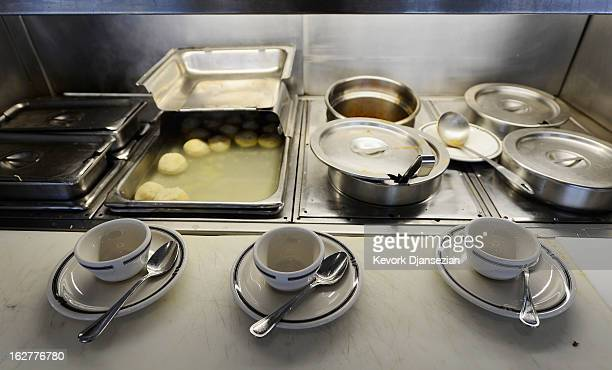 Matzah ball soup is prepared at Langer's Delicatessen on February 26 2013 in Los Angeles California According to a report America's Jewish delis are...