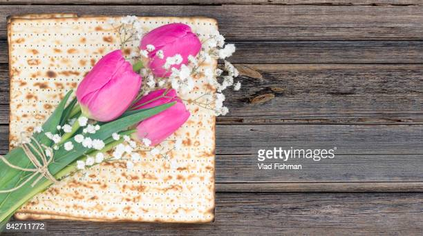Matzah or matza on a white and tulip flowers on a vintage wood background with copy space.