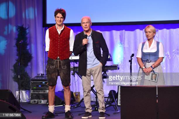 Matze Knop Franz Beckenbauer and Heidi Beckenbauer during a bavarian evening ahead of the Kaiser Cup 2019 on July 12 2019 in Bad Griesbach near...