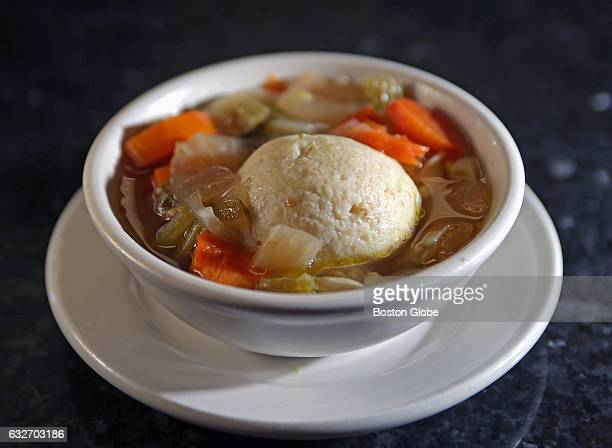 Matzo ball soup is pictured at Kugel's New York Style Deli in Framingham MA on Feb 18 2016